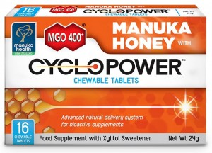 Tabletki do ssania Cyclopower™ z ksylitolem i miodem Manuka MGO™ 400+ (16 tabletek) - Manuka Health